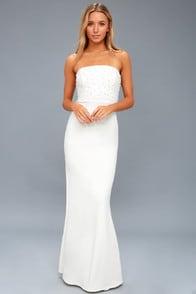 Blair White Pearl Strapless Maxi Dress at Lulus.com!