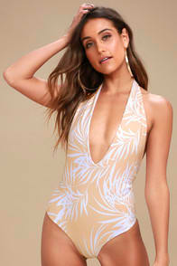 DIVE IN BEIGE LEAF PRINT REVERSIBLE HALTER ONE PIECE SWIMSUIT at Lulus.com!