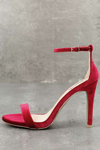 ALL-STAR CAST RED VELVET ANKLE STRAP HEELS at Lulus.com!