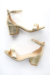 Harper Gold Ankle Strap Heels at Lulus.com!