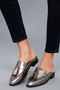 ZEVA DARK GUNMETAL LOAFER SLIDES at Lulus.com!