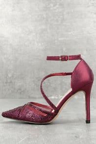Warren Wine Rhinestone Ankle Strap Heels at Lulus.com!