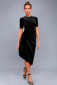 Kaylee Black Velvet Midi Dress at Lulus.com!