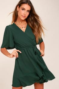 Absolute Affection Forest Green Wrap Dress at Lulus.com!