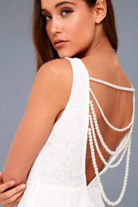 Precious Pearls White Lace Backless Dress at Lulus.com!