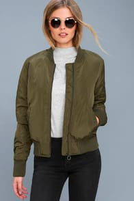 Air Force Hun Olive Green Bomber Jacket at Lulus.com!