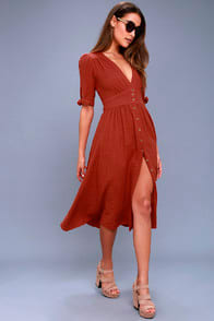 Free People Love of My Life Rust Orange Midi Dress at Lulus.com!