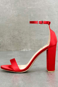 TAYLOR RED SATIN ANKLE STRAP HEELS at Lulus.com!
