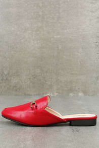 Pippin Red Loafer Slides at Lulus.com!