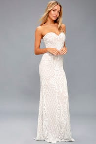 OLIVIA WHITE SEQUIN STRAPLESS MAXI DRESS at Lulus.com!