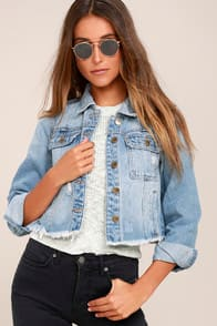 your move light wash distressed denim jacket at Lulus.com!