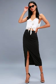 Sweet Darling Black Bodycon Midi Skirt at Lulus.com!