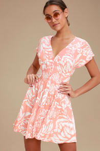 MINKPINK Assam Peach Floral Print Button-Up Dress at Lulus.com!