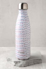 Blanc Crocodile Mauve Print Stainless Steel Water Bottle at Lulus.com!