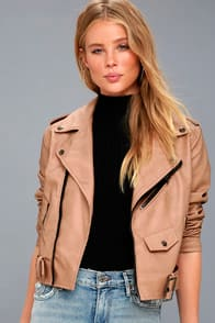Maryella Nude Vegan Leather Moto Jacket at Lulus.com!