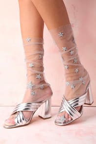STARS IN HER EYES SILVER GLITTER STAR PRINT TULLE SOCKS at Lulus.com!