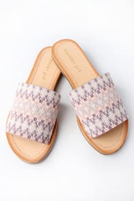 LULUU NUDE MULTI BEADED SLIDE SANDALS at Lulus.com!