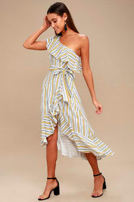 High Tide Yellow Striped One Shoulder Midi Dress at Lulus.com!