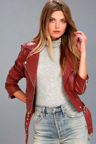 Rebel With a Cause Red Vegan Leather Moto Jacket at Lulus.com!