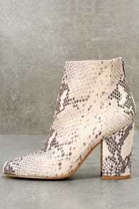 Star Natural Leather Snake Print Ankle Booties at Lulus.com!