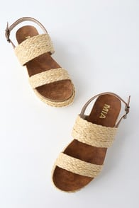 Ava Natural Rafia Flatform Sandals at Lulus.com!