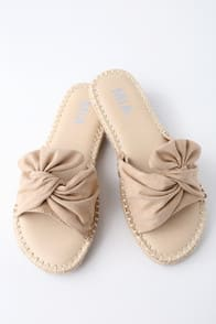 Kensi Natural Suede Espadrille Slide Sandals at Lulus.com!