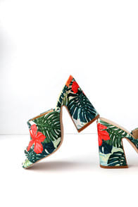 HECTOR GREEN MULTI PEEP-TOE MULES at Lulus.com!