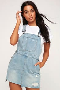Skirtall Light Wash Distressed Denim Skirt Overalls at Lulus.com!
