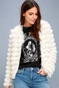Lourdes Cream Faux Fur Fringe Jacket at Lulus.com!