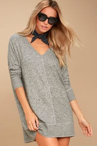 Estes Park Heather Grey Long Sleeve Sweater Dress at Lulus.com!