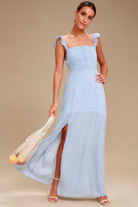 Sage the Label Baby Blues Light Blue and White Polka Dot Maxi Dress at Lulus.com!