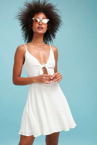 Play It Cool White Tie-Front Skater Dress at Lulus.com!