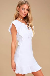 Tavik Fia White Lace-Up Mini Dress at Lulus.com!