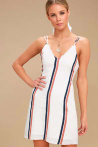 Tavik Abri Cream Striped Mini Dress at Lulus.com!
