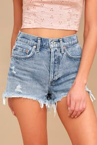 PARKER LIGHT WASH DISTRESSED HIGH-WAISTED SHORTS at Lulus.com!