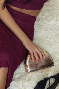 What's Your Shine? Rose Gold Half Moon Clutch at Lulus.com!