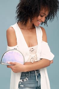 What's Your Shine? Silver Half Moon Clutch at Lulus.com!