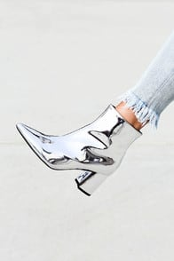 Nebula Silver Patent Ankle Booties at Lulus.com!