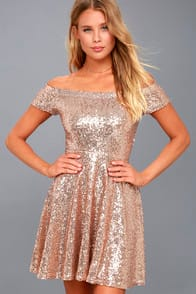 DAZZLE DARLING ROSE GOLD SEQUIN OFF-THE-SHOULDER SKATER DRESS at Lulus.com!