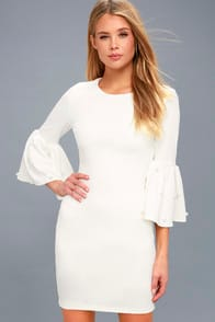Ethereal Dream White Pearl Flounce Sleeve Bodycon Dress at Lulus.com!