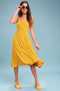Going Coastal Mustard Yellow Midi Dress at Lulus.com!