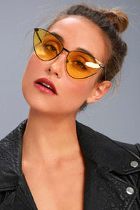 SAGITTARIUS YELLOW AND BLACK CAT-EYE SUNGLASSES at Lulus.com!