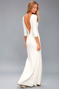 KYMBER WHITE BACKLESS MAXI DRESS at Lulus.com!