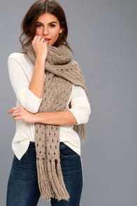 Bae Area Tan Knit Scarf at Lulus.com!