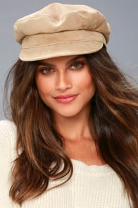 Two Steps Ahead Beige Suede Leather Baker Boy Cap at Lulus.com!