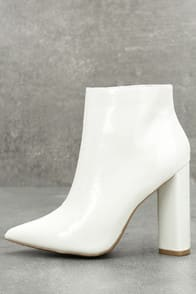 Saige White Patent Ankle Booties at Lulus.com!