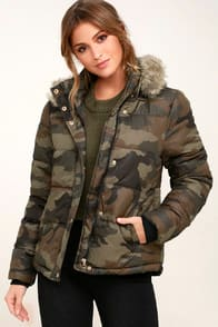 Cadet Cutie Army Green Camo Print Faur Fur Puffer Jacket at Lulus.com!