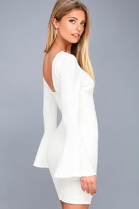 Flare to Spare White Flounce Sleeve Bodycon Dress at Lulus.com!