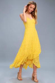 Saunter Along Yellow Lace Midi Dress at Lulus.com!
