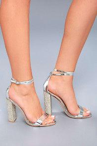 Viv Silver Rhinestone Ankle Strap Heels at Lulus.com!
